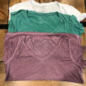 Lot of 3 American Eagle Outfitters V neck Tees